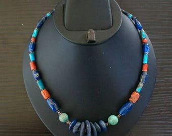 ON SALE Classic TURQUOISE Coral Lapis Lazuli  Silver Necklace