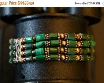 ON SALE One of a Kind Malachite Silver Bracelet