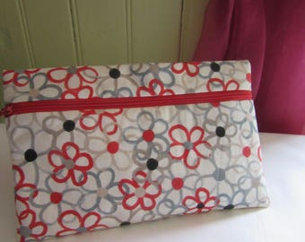 pouch bag, pouch, makeup, stylized flowers, red, grey, beige