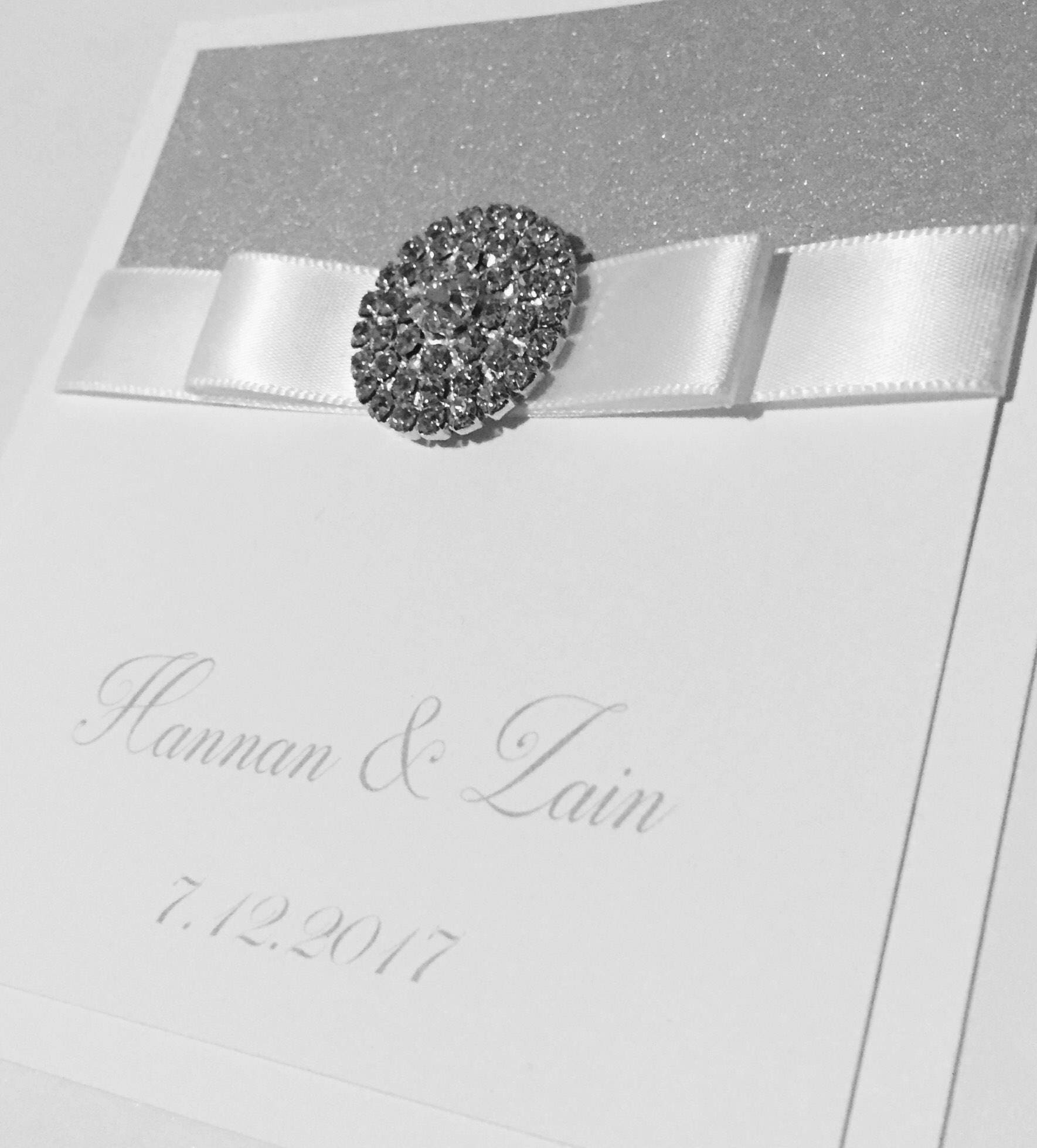 Arabic and English Wedding Invitations White and Silver and Grey ...