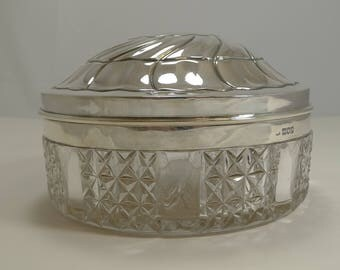 """Huge 7"""" Cut Crystal and English Sterling Silver Box - 1905  Huge 7"""" Cut Crystal and English Sterling Silver Box - 1905"""
