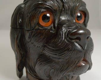 Fabulous Large Antique Black Forest Novelty Inkwell c.1890 - Dog Fabulous Large Antique Black Forest Novelty Inkwell c.1890 - Dog