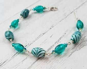 teal feather bracelet sterling silver bracelet swarovski crystals gifts for her lampwork