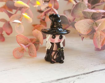 Witch - Witch Bead - Glass Witch - Witch and Cat - Halloween Beads - Halloween Glass Beads - Handmade Beads - Lampwork Glass - UK Made
