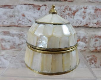 Brass mother of Pearl Trinket box