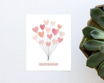 Handmade Love Is In The Air Watercolor Greeting Card Print 4x5
