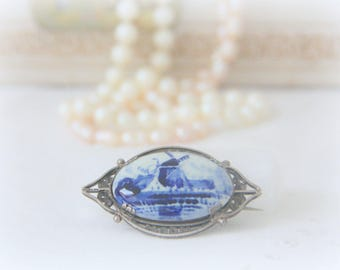 Antique Silver Brooch Filigrain Delft Blue, Handpainted