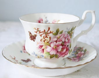 Vintage Royal Albert Bone China Cup and Saucer, Gentleman Size, Un-named, Country Life ' Sweet Briar' Pattern, England
