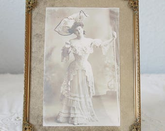 Lovely Antique Brass Photo Frame with Filigree Decor, Bulb Glass