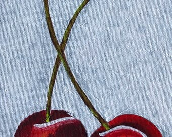 Cherries In Acrylic 5X7 Canvas Board | Spring | Cherry | Pink | Impressionist | Contemporary | Nature | Garden | Blossom | Colorful | Fruit