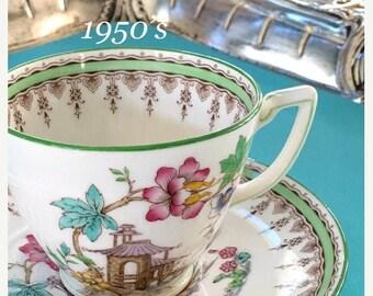 ON SALE 20% Vintage Mintons Teacup Saucer, Antique Tea Cup Saucer, Mid Century Decor, English Bone China, Hand Painted China Teacup, Birthda
