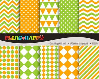 70% OFF Orange And Green Digital Papers, Chevron/Polka Dot/Wave/Stripe Pattern Graphics, Personal & Small Commercial Use, Instant Download