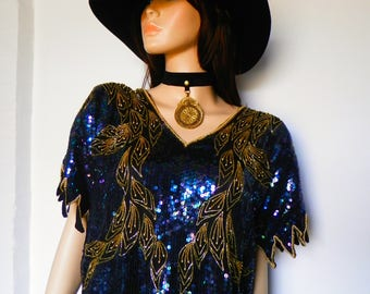 Original 1980's Heavily Sequined/Beaded Indian Top by 'First Queen'