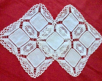 Vintage Pair of White Crochet Doilies with Cotton Centers