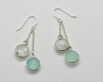 Chalcedony and Moonstone Necklace and Earring Set Matching Moonstone and Aqua Chalcedony Jewellery Set