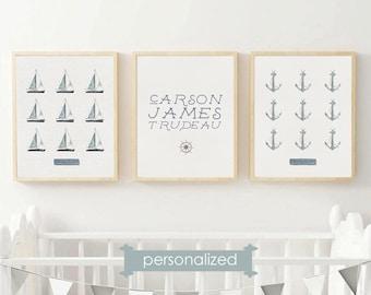 PRINTABLE Nautical Nursery Art - Personalized Nursery Wall Art - Set of 3 Nautical Nursery Prints - Nautical Wall Art Set - Kids Room Decor