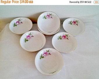 50% OFF SALE Johann Haviland Bavaria Germany Courtship China Bowls Set of 7 // Johann Haviland Dessert Bowls // Rose Pattern Bowls
