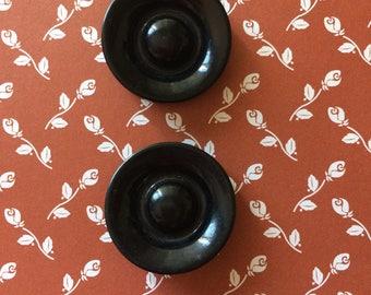"""Vintage 2 Black Round Buttons 1-1/8"""" Plastic"""