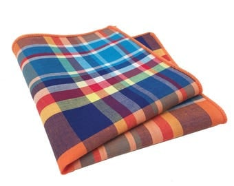 Orange, Blue, Yellow and Red Plaid Pocket Square