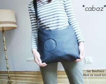 Shoulder bag hand bag, black and grey