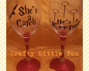 Pair of Harry Potter He's a Keeper & She's a Catch glitter glasses