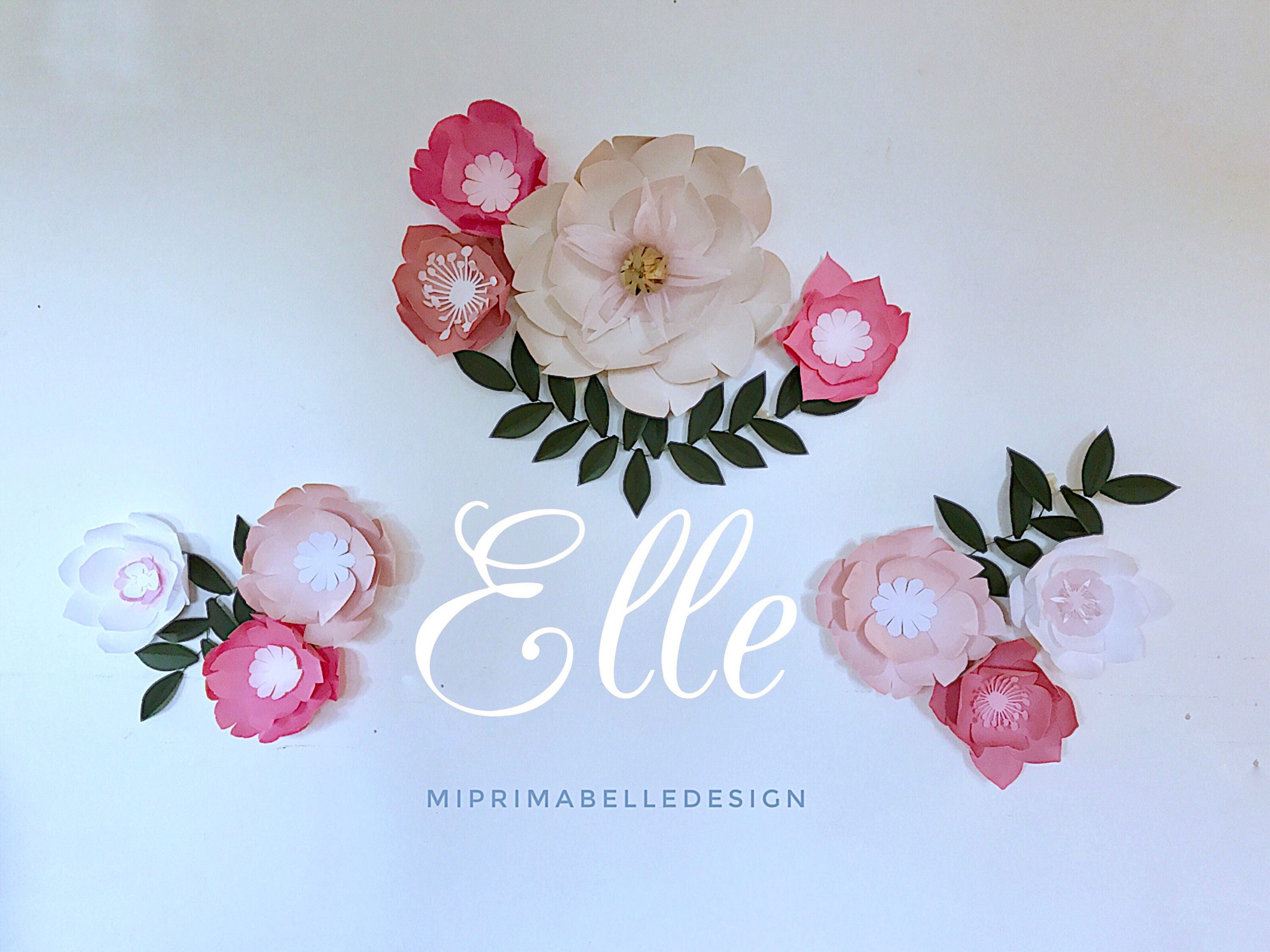 Paper flowers wall decor, blush pink large paper flowers, cream ...