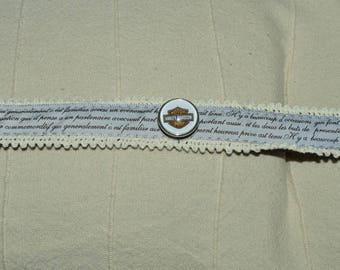 Harley davidson chunk leather bracelet and fabric
