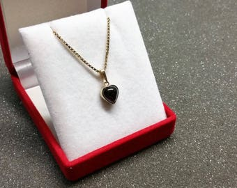 Pendant heart gold 333 Garnet shabby vintage GA185
