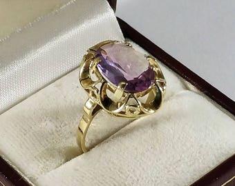 Ring Gold 333 with amethyst nostalgia pur vintage old GR223
