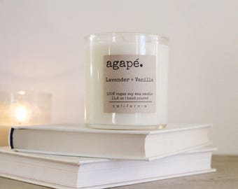 LAVENDER + VANILLA, Best seller, soy candle, spa candle, natural candle,  Agape Candles