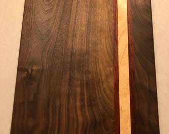 Walnut with maple and padauk cutting board