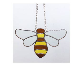 Stained glass bee suncatcher decoration, beekeeping