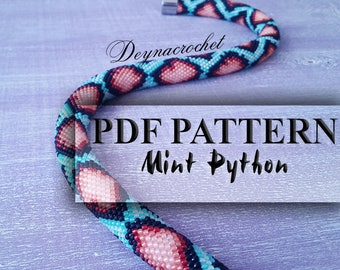 PDF Pattern for beaded crochet necklace - Jewelry patterns - Python pattern - Mint necklace