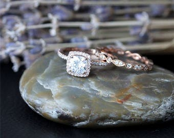 Custom 1.3ct, Cushion Cut, C & C Forever One Moissanite Ring Set, Solid 14K Rose Gold Ring Set, Engagement Ring Set,Full Eternity