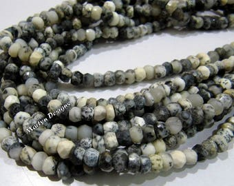AAA Quality Natural Dendrite Opal Rondelle Faceted Beads , 4-5mm Opal Gemstone Beads , Strand 13 inch long, Best Quality Dendrite Opal Beads