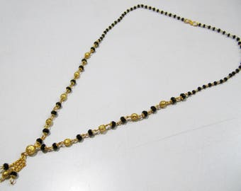 Beautiful Black and Golden Beaded Necklace  , 18 inches Long Gold Plated Jewelry , Traditional Indian Rosary Necklace , Fashion Jewelry.