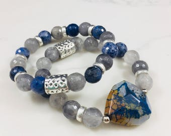 "Set of 2 ""Gabby"" dumortierite, agate and smokey quartz beaded bracelets • Fast and free shipping"