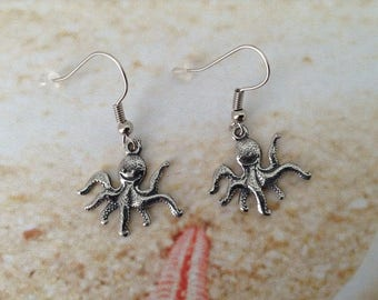 Nautical Octopus Pewter Charm Silver Tone Earring Hooks Rubber Back Stops Beach Jewellery