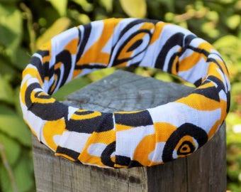 Black/orange/white fabric Bangle