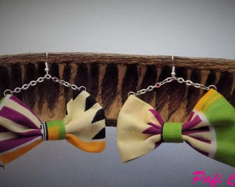 Earring chain wax multicolored bow.