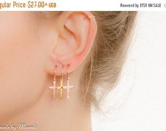 SALE - Cross Hoop Earrings - Gold Cross Hoop Earrings - Simple Hoop Earrings - Cross jewelry