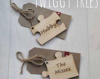 Jigsaw 2 piece set , His &Hers  Engraved The misses, Hubby  Keyring Valentine Partner Husband Boyfriend gift