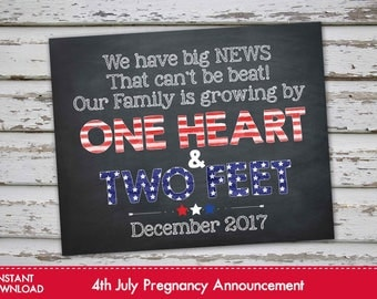 Fourth of July Pregnancy Announcement Chalkboard Poster, 4th of July Pregnancy Reveal, July 4th Pregnancy Announcement DECEMBER 2017