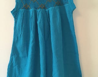 Traditional Mexican turquoise with detail Blouse of Manta