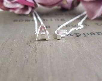 Sterling silver Initial necklace, Alphabet Necklace