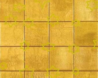 Tuiles de mosaïque de feuilles 4 or plancher 1/12 échelle papier vinyle brillant auto adhésif pour la livraison gratuite de maison de poupée