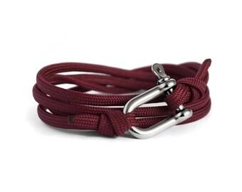 Shackle Bracelet,  Maroon Red & Silver, Sailing Rope Bracelet, Mens Bracelet, Nautical Jewellery.
