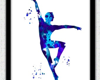 Ballet dancer Digital Download, male ballet dancer silhouette, blue ballet dancer art print, ballet dancer silhouette, ballet dancer decor