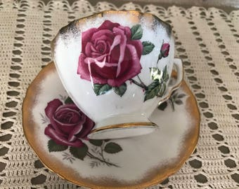 Adderley Bone China Rose Tea Cup and Saucer
