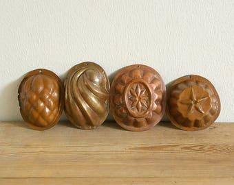 Vintage copper molds set.Swedish kitchen decor.Scandinavian copper molds.Pudding molds.Country kitchen decor.Farmhouse Home decor